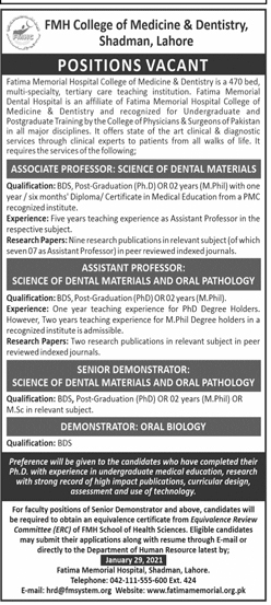 Fatima Memorial Hospital FMH College Of Medicine & Dentistry Lahore Jobs 2021 Application Form Eligibility Criteria
