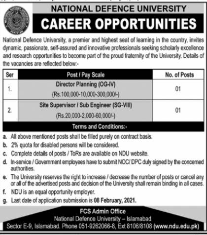 National Defence University NDU Islamabad Jobs 2021 Application Form Eligibility Criteria Last Date