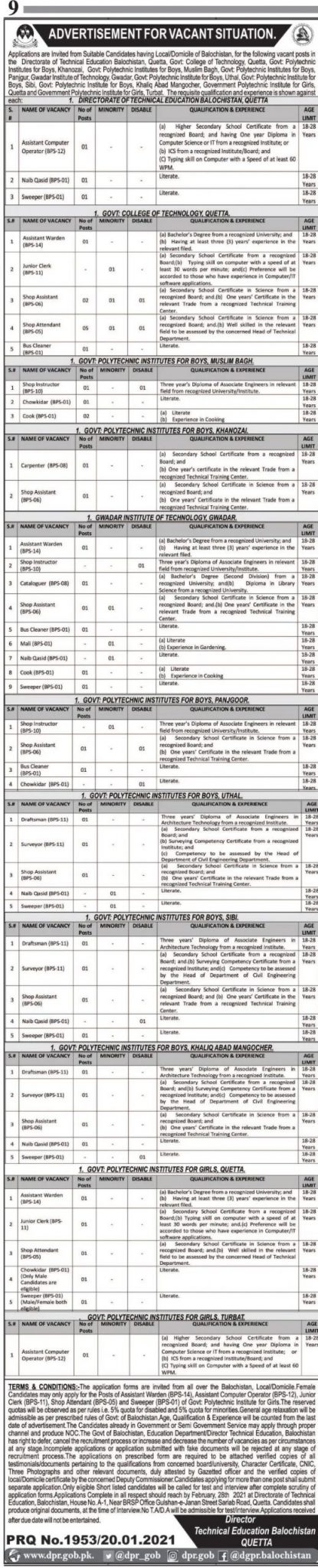 Technical Education and Vocational Training Authority TEVTA Balochistan Jobs 2021 Application Form Last Dat