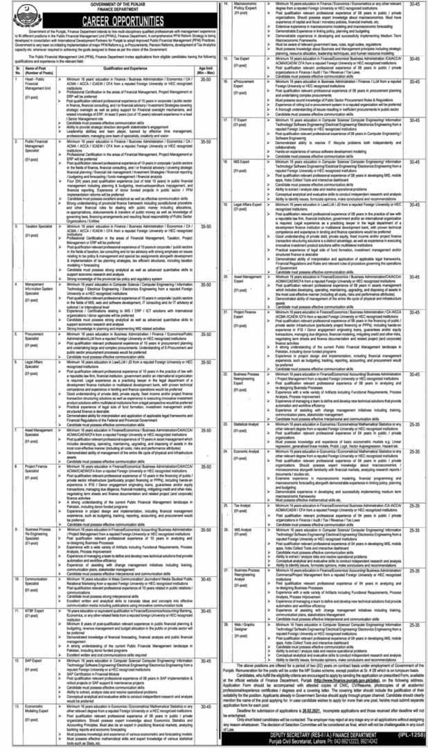 Finance Department Punjab Jobs 2021 Application Form Download Eligibility Criteria