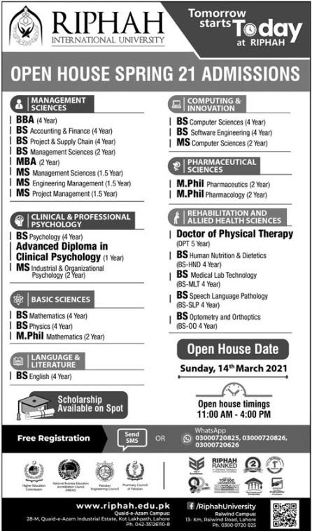 Riphah International University Lahore Admission 2021 Application Form Eligibility Criteria