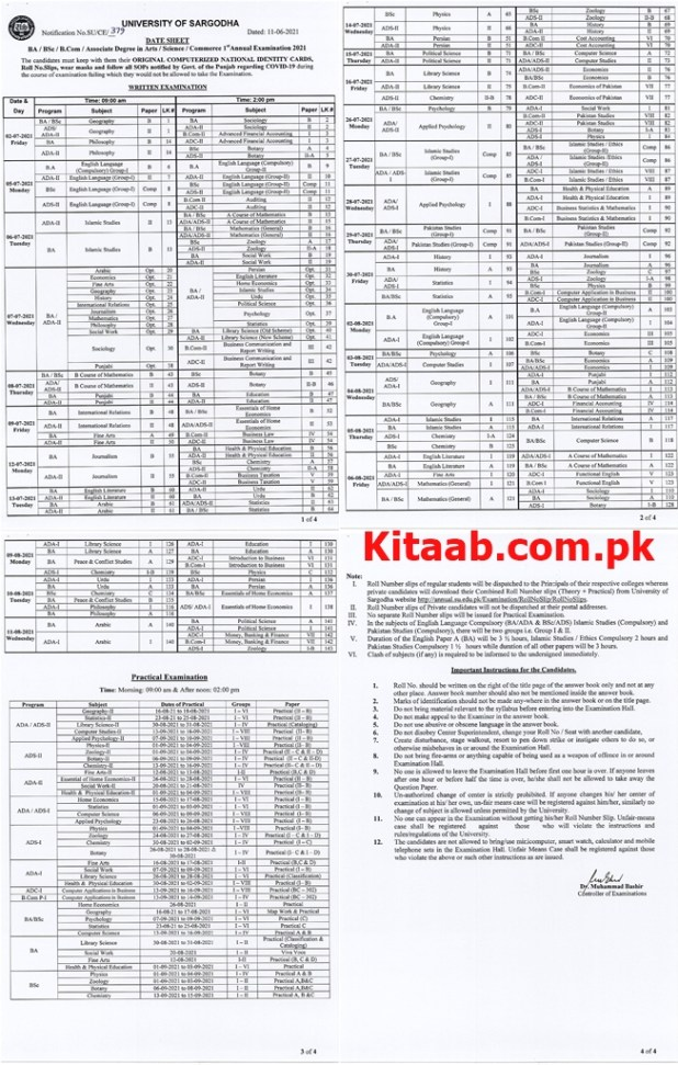 Sargodha University Date Sheet Announced For BSc BA MSc MA BCOM MCOM UOS Date Sheet
