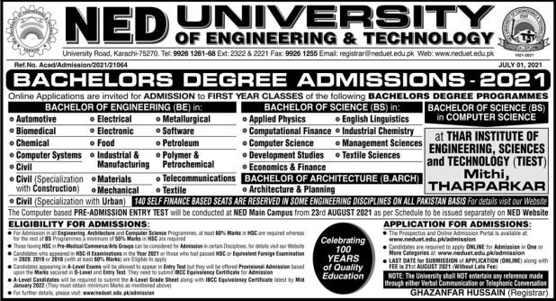 NED UET Karachi Admission Entry Test 2021 Dates & Schedule Merit List University of Engineering & Technology