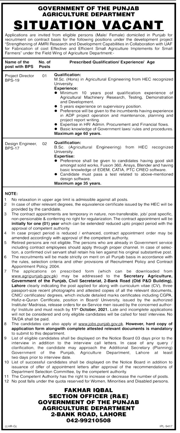 Agriculture Department Government of The Punjab Jobs 2021 Application Form Eligibility Criteria
