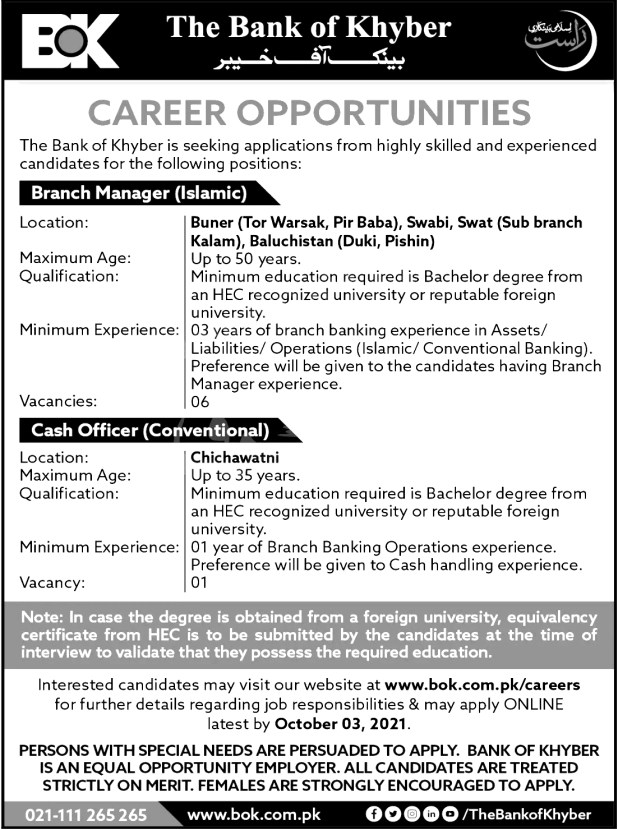 The Bank of Khyber Batch Trainee Officers BTO NTS Jobs 2021 Online Apply Procedure Last Date