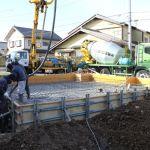 「広丘の家」コンクリート打設