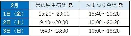 とかちプラザ~会場 シャトルバス時刻表