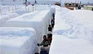 雪の巨大めいろ