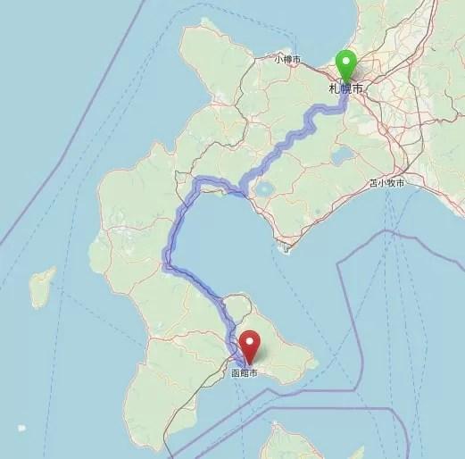 車移動マップ 札幌~函館公園