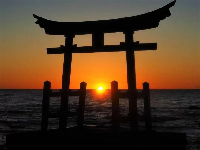 海に浮かぶ鳥居が必見!金比羅神社