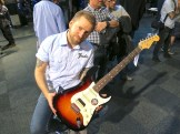 Fender Scandinavia's product specialist Christian Alsing and the brand-new American Standard Stratocaster HSS Shawbucker.