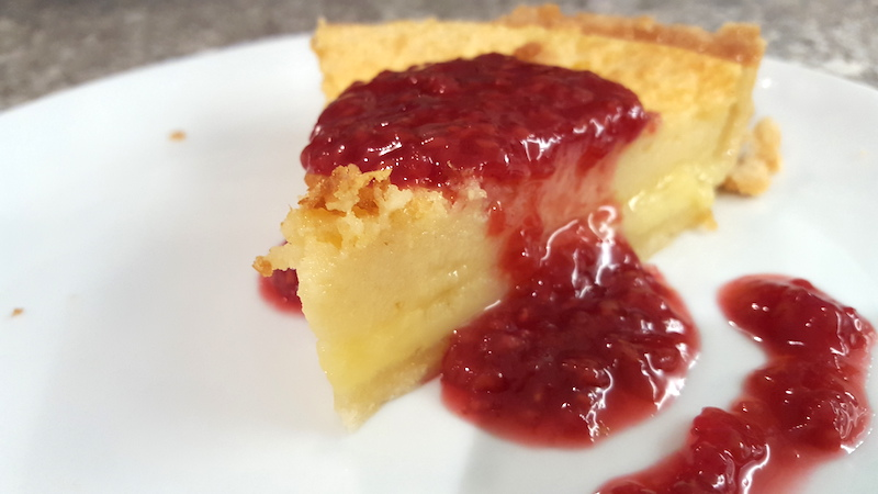 Lemon Buttermilk Pie with Raspberry Compote