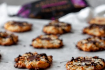 rows of chocolate caramel coconut macaroons