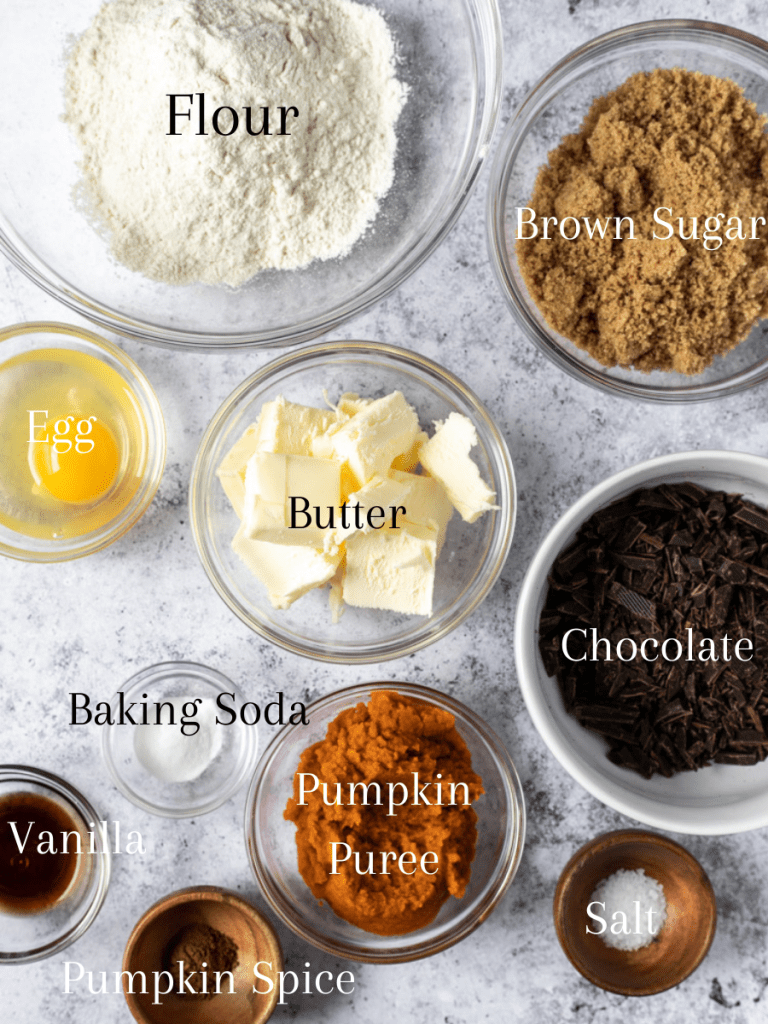 Ingredients for a pumpkin chocolate chip skillet cookie