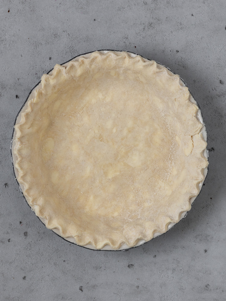 Homemade pie crust before being filled