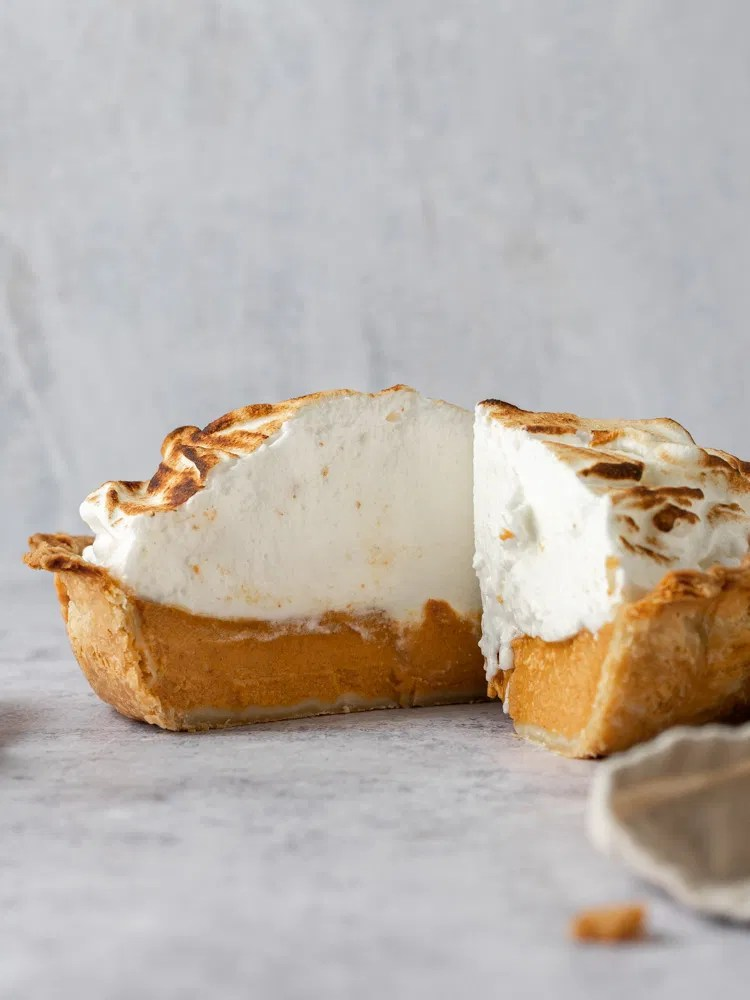 A pumpkin pie piled high with meringue