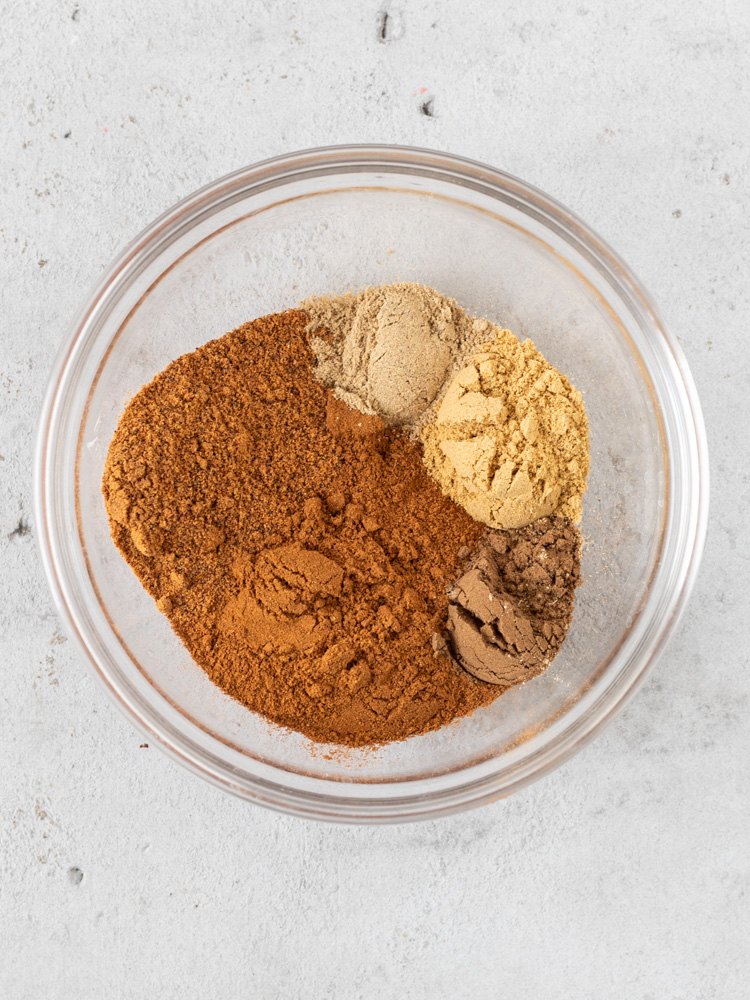 The unmixed spices in a bowl