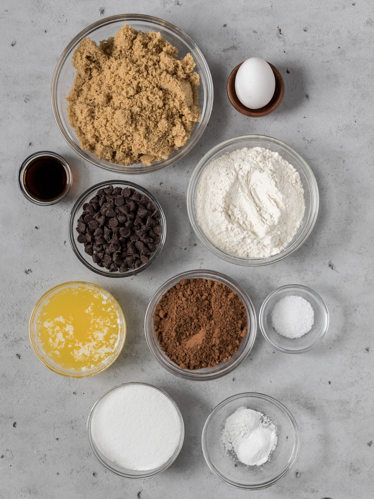 All of the ingredients needed for brownie stuffed chocolate chip cookies