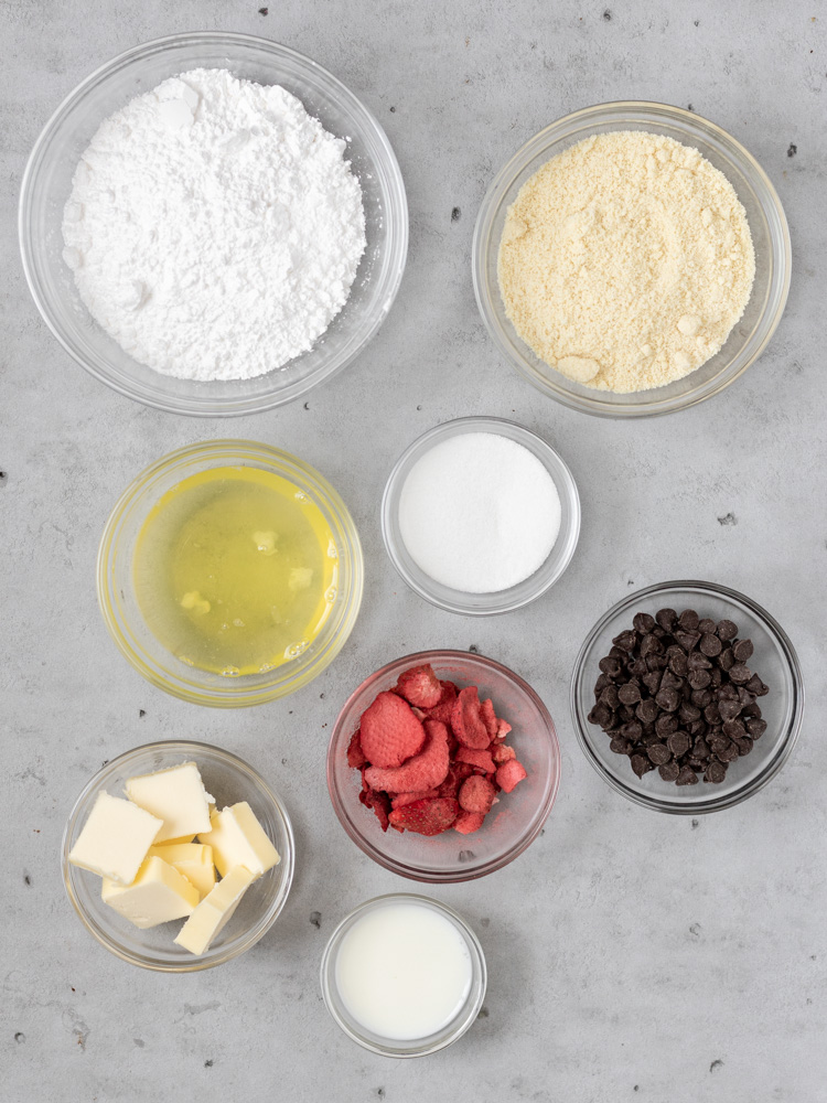All of the ingredients for chocolate strawberry macarons