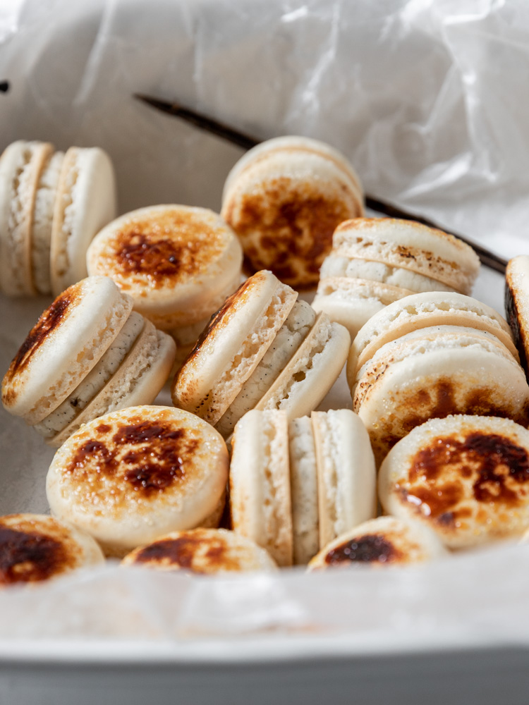 A group of Crème Brûlée Macarons in a baking dish