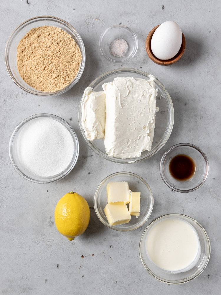 All of the ingredients needed for mini lemon cheesecakes