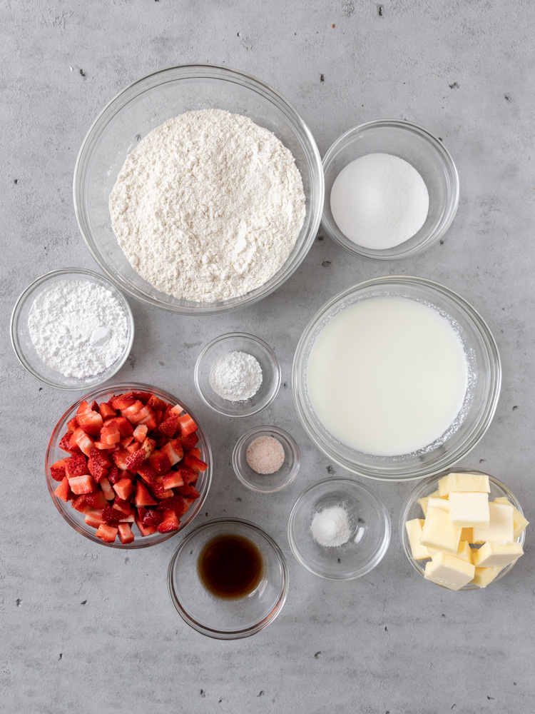 All of the ingredients needed to make strawberry and cream scones