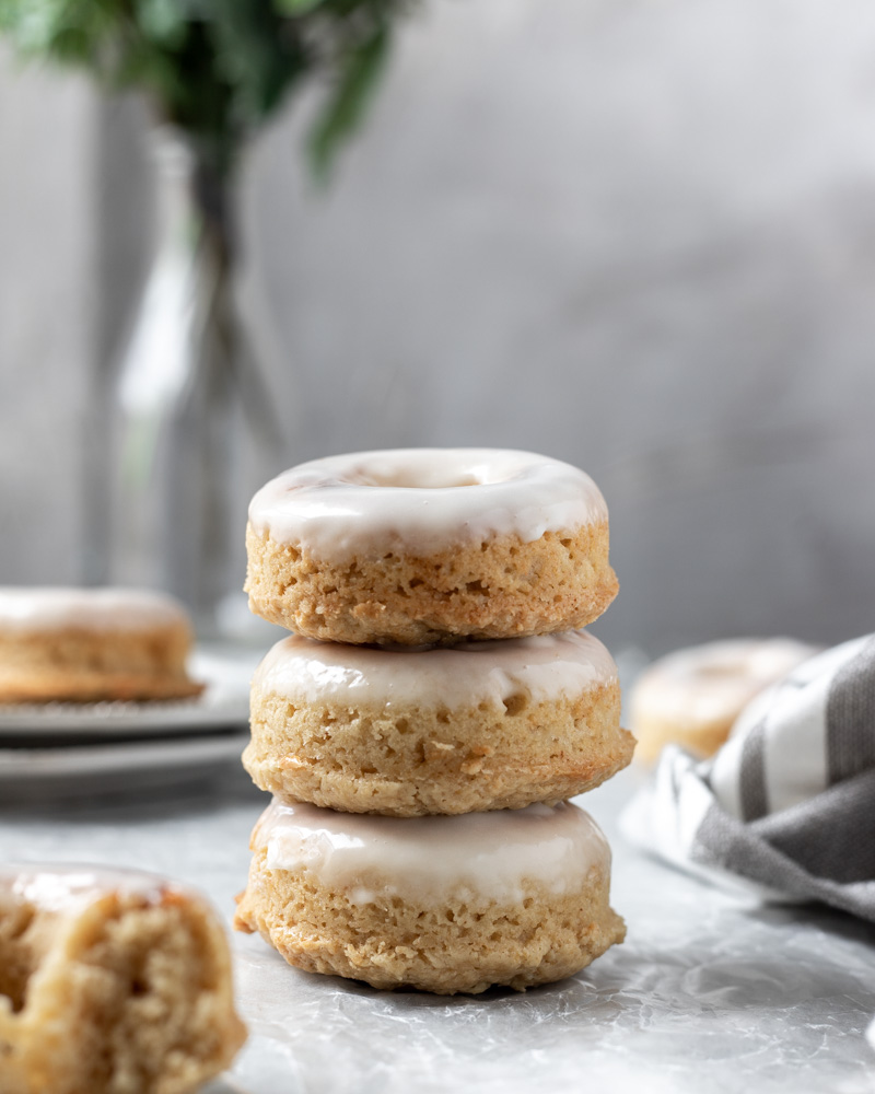 A stack of three brown butter donuts