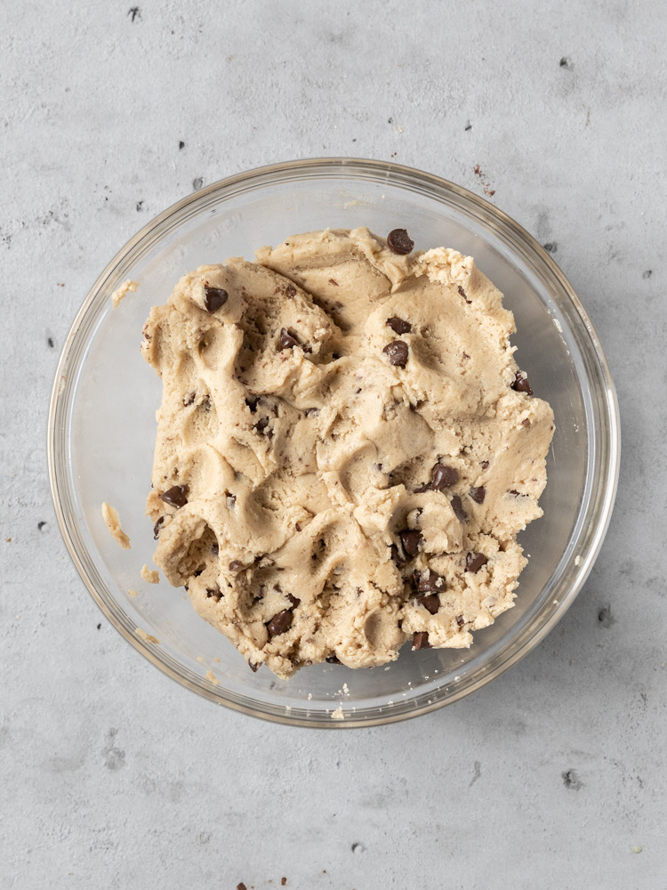The completed cookie dough in a bowl