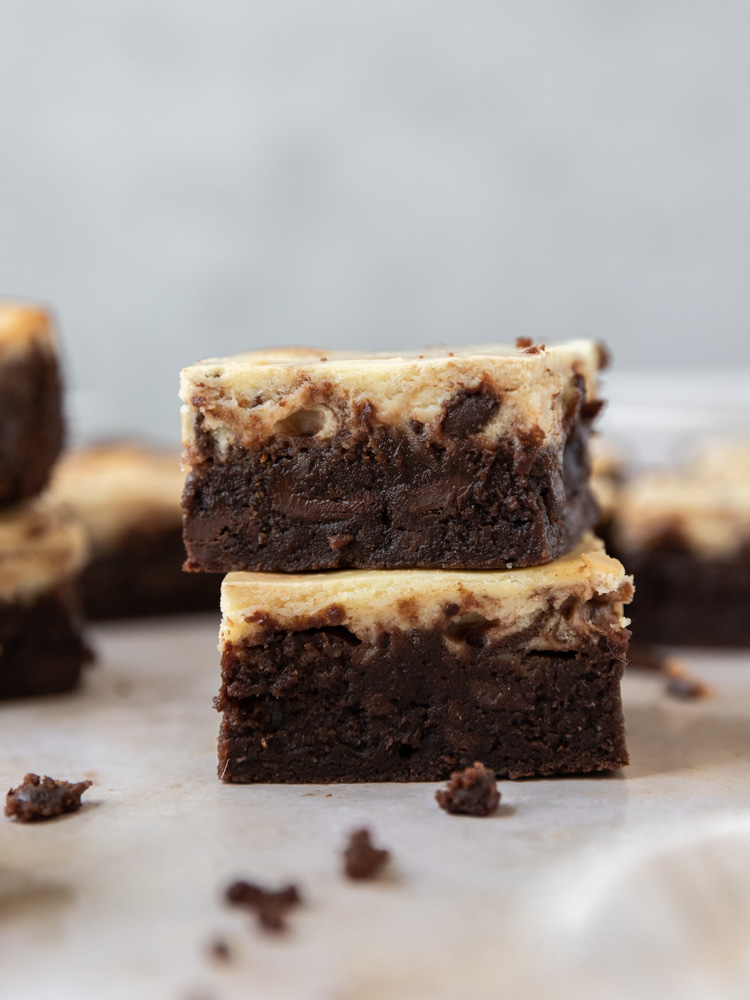 Two brownies stacked on top of each other