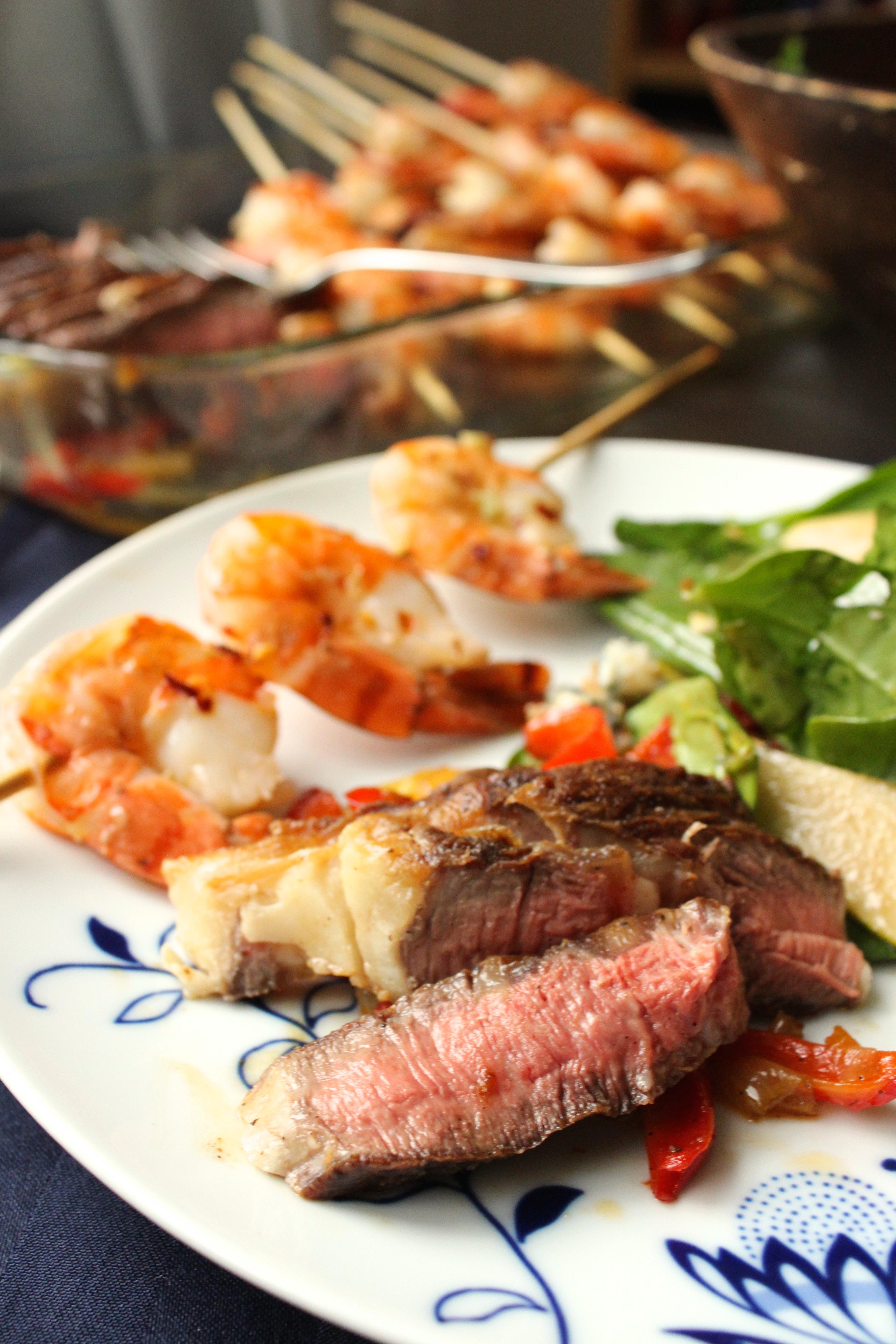 Valentine's Surf and Turf: Rib Eye Steak & Jumbo Shrimp