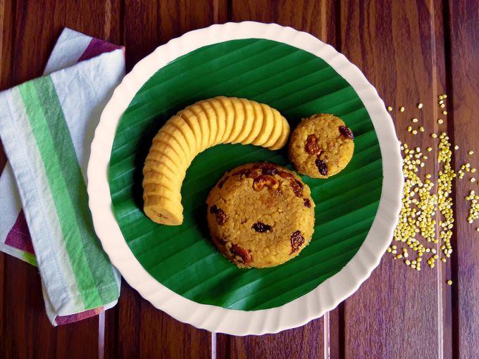 Sweet Khichdi / Godshem accompanied by ripe Nendran banana slices.
