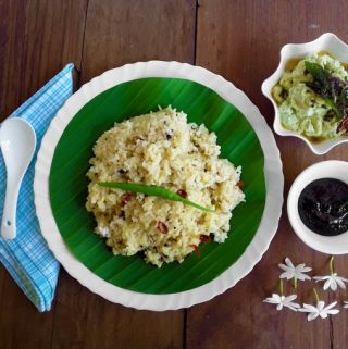 Pongal with roasted chickpea coconut chutney and puliyinji