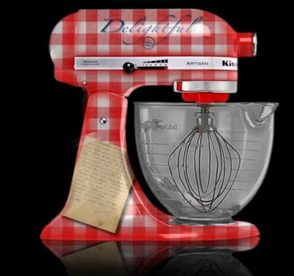 Red and white checkered custom painted kitchen aid mixer