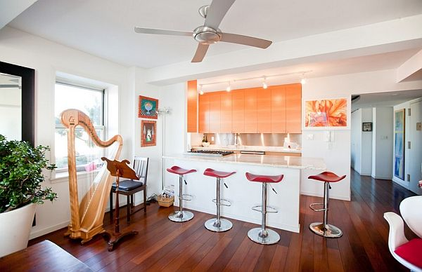 Funky orange kitchen cabinet