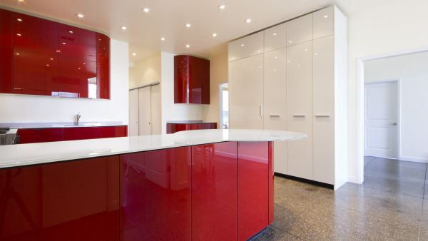 Kitchen decorated with red glass