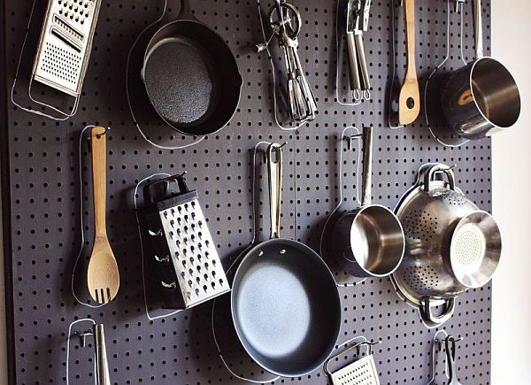 Pegboard in kitchen