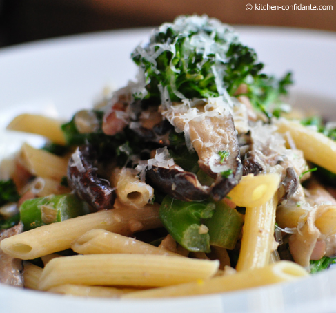 Penne with Asparation, Shiitake Mushrooms & Prosciutto
