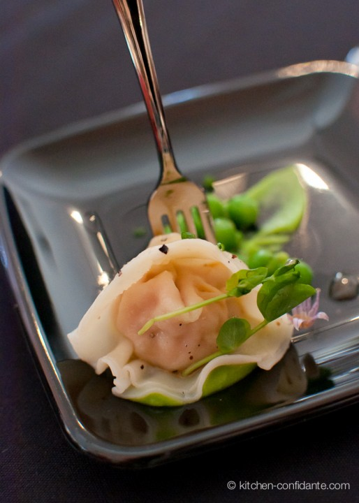 Foie Gras Ravioli with English Pea Puree