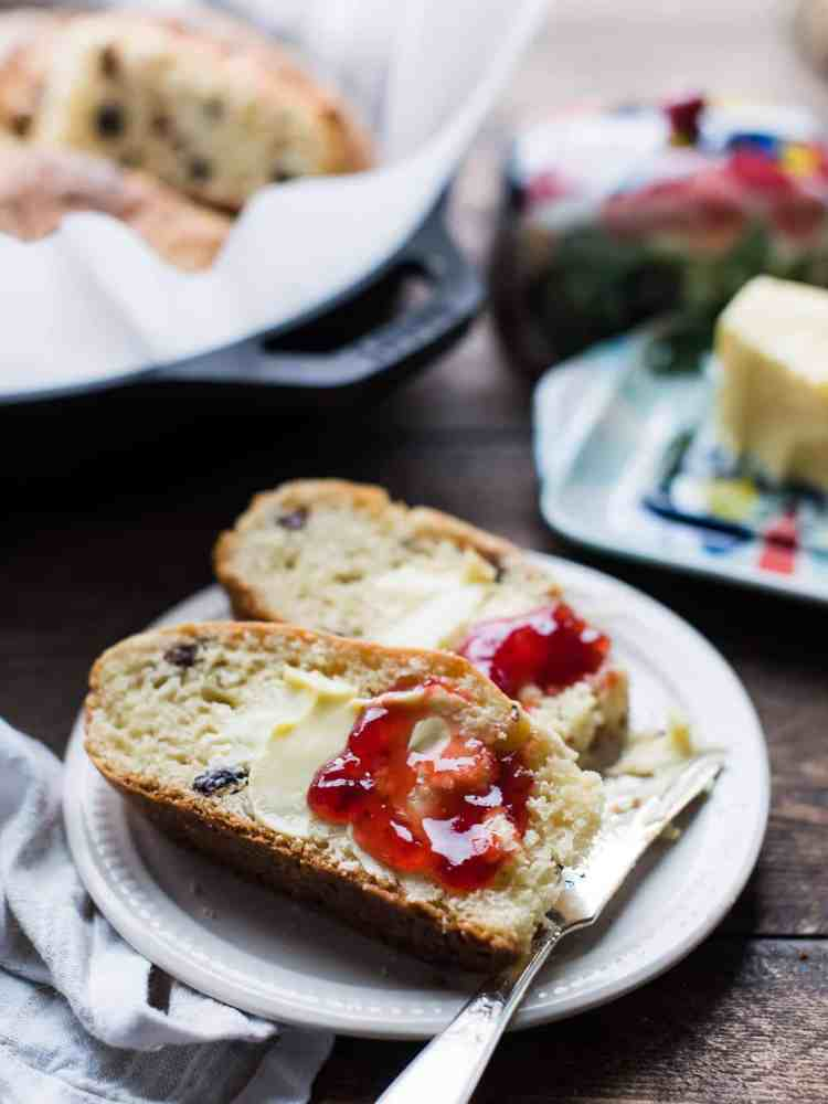 butter and jam on Irish Soda Bread.