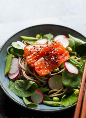 Salmon and Soba Noodle Salad with Wasabi Dressing | Kitchen Confidante