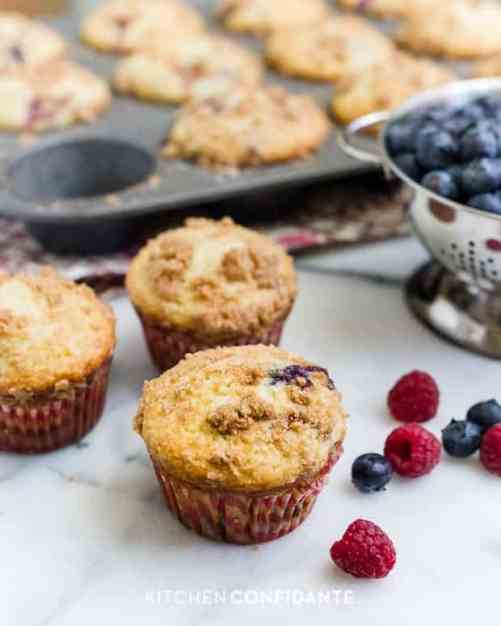 Mixed Berry Streusel Muffins patriotic snack
