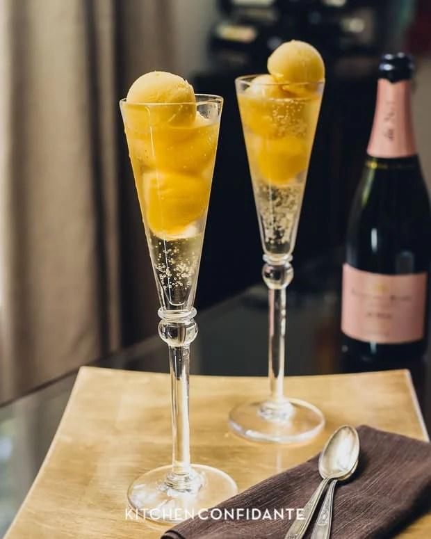 Sparkling Mango Sorbet Floats | Kitchen Confidante | Cava
