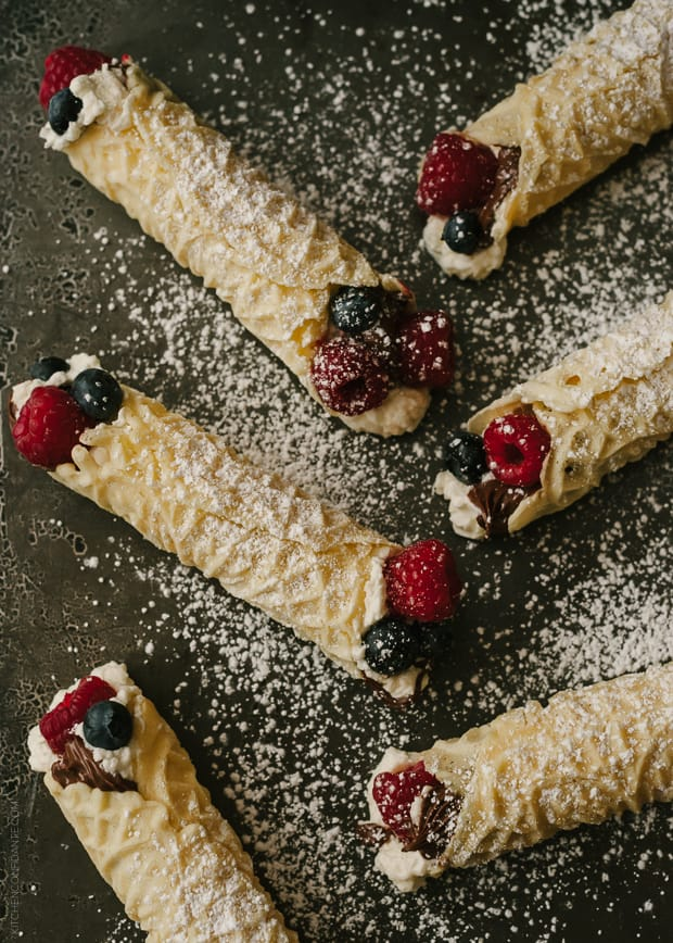 Nutella Berry Filled Waffle Cookies (Pizzelle)   www.kitchenconfidante.com
