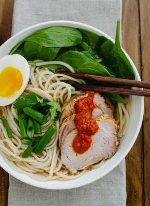 Harissa Ramen   www.kitchenconfidante.com   Homemade harissa adds heat and flavor to a comforting bowl of ramen!