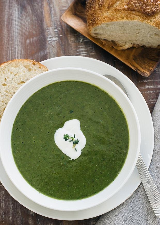 Creamy Spinach Lentil Soup | www.kitchenconfidante.com