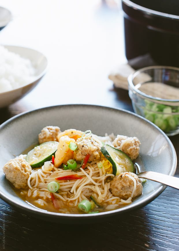 Misua Bola-Bola - Filipino Meatball Noodle Soup   www.kitchenconfidante   A truly comforting bowl of noodle soup - and a family favorite.