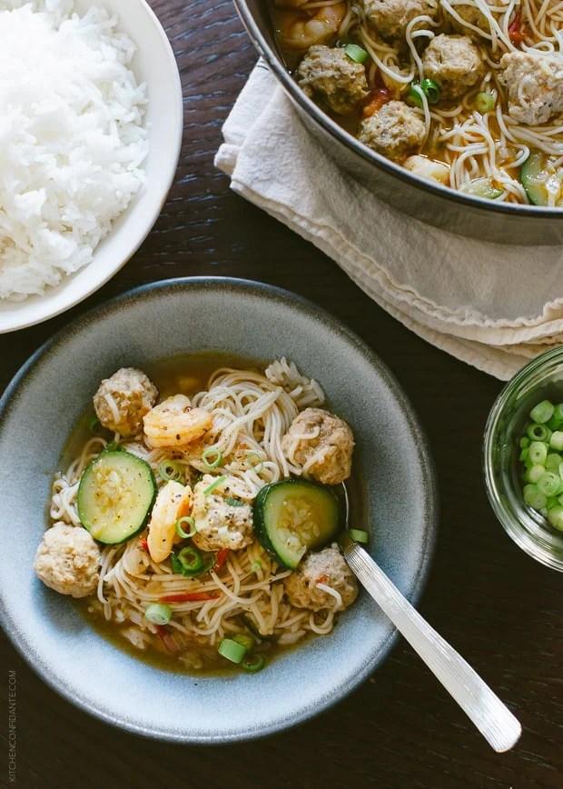 Misua Bola-Bola - Filipino Meatball Noodle Soup   www.kitchenconfidante