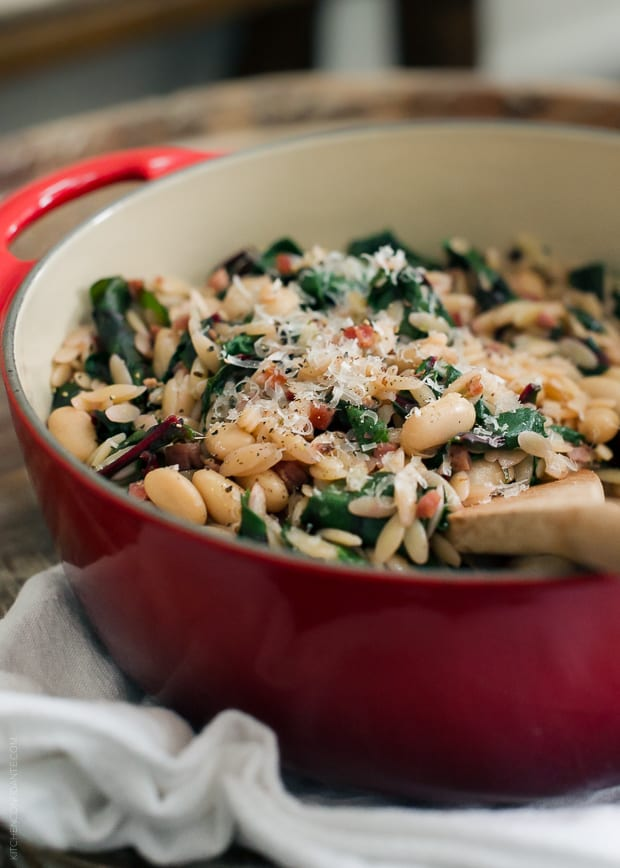 Swiss Chard with Orzo, Cannelini Beans and Pancetta | www.kitchenconfidante.com | A wholesome side dish that can is just right as an easy lunch, too.