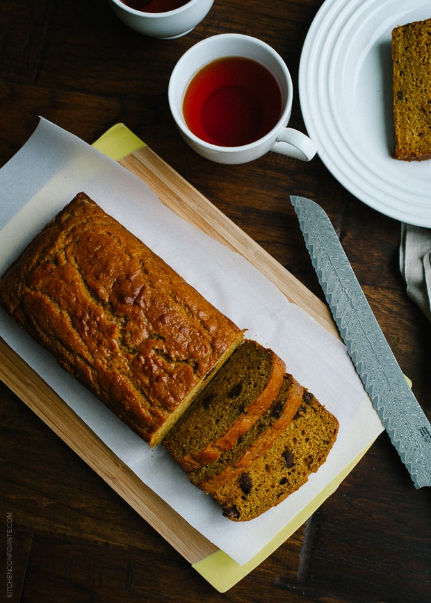 Chocolate Chip Pumpkin Bread | www.kitchenconfidante.com | There's nothing more comforting than a slice of pumpkin bread.