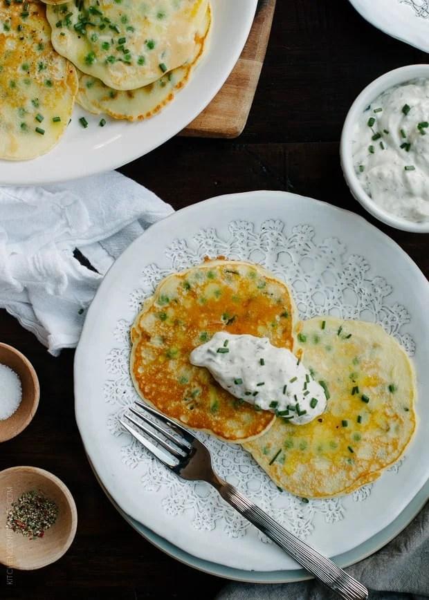 Pea Pancakes with Tzatziki Sauce | www.kitchenconfidante.com